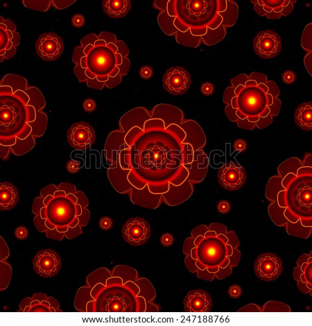 Futuristic style fancy abstract geometric motif pattern in dark red tones and black background.