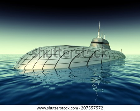 Futuristic Submarine Computer generated 3D illustration - stock photo