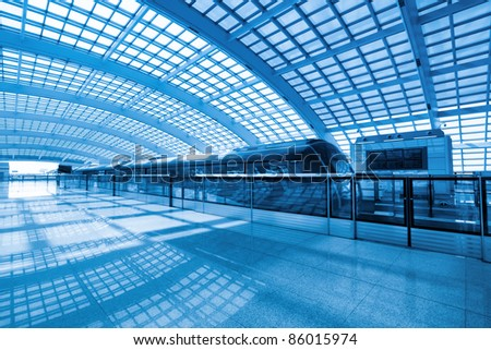 futuristic subway station,capital airport express,China - stock photo