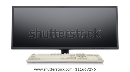 Futuristic super wide flat screen LCD monitor with classic keyboard on white background - stock photo