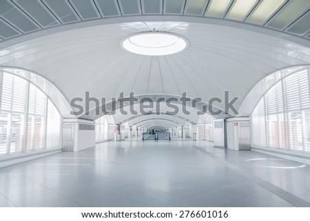 futuristic terminal interior - stock photo