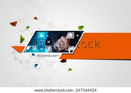 Futuristic touch screen display - stock photo