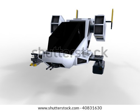 futuristic transforming scifi robot and spaceship isolated on white