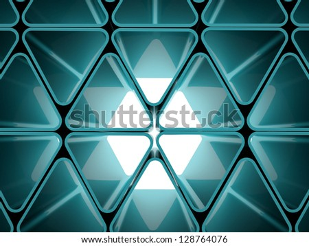 Futuristic triangle wall concept on blue - stock photo