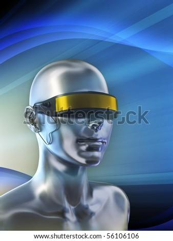 Futuristic vision device on a female android. Digital illustration. - stock photo