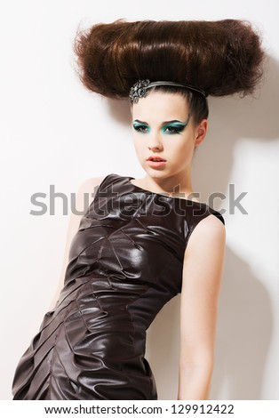 Futuristic Woman. Fantasy & Independence. Fancy Professional Coiffure - stock photo