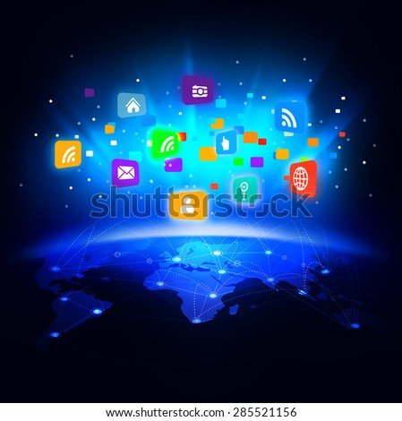 futuristic world with colorful media network symbol for communication & technology business concept on motion background, vector illustration
