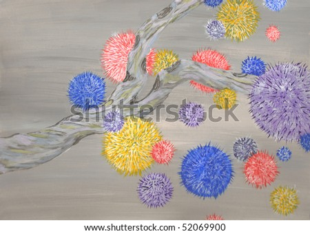 Fuzzy puffs coming off of a tree branch over a non chromatic gray sky. - stock photo