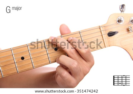 G - basic major keys guitar tutorial series. Closeup of hand playing G major chord on guitar, isolated on white background