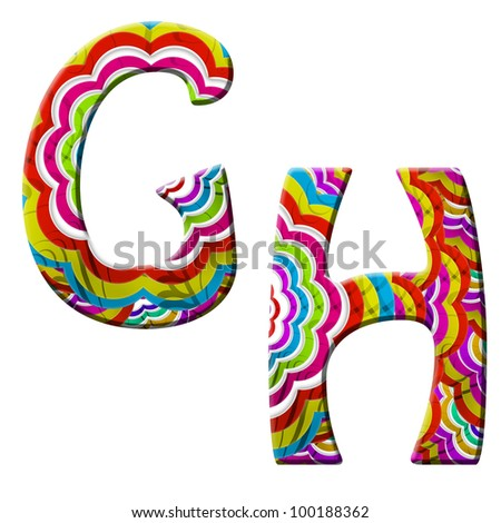 G, H, Colorful wave font isolated on white. - stock photo
