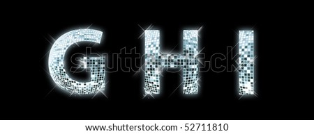 G,H,I - font made from a disco ball - stock photo