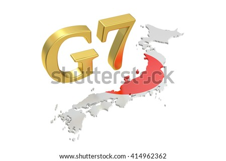 G7 in Japan, concept, 3D rendering isolated on white background - stock photo