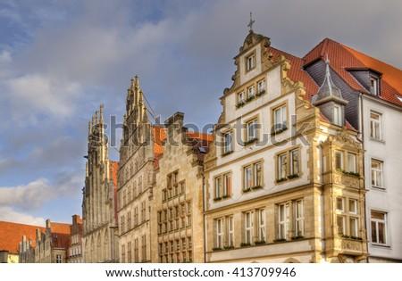 Gables of historical buildings on Prinzipalmarkt street in Munster, Germany - stock photo