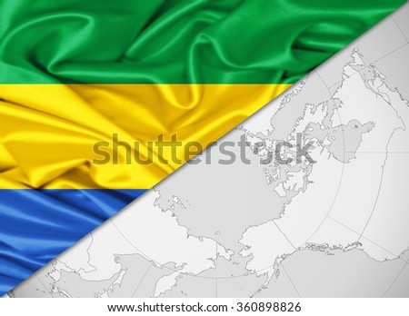 Gabon flag of silk with copyspace for your text or images and world background