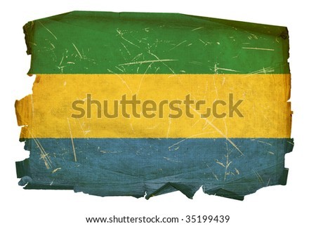 Gabon Flag old, isolated on white background.