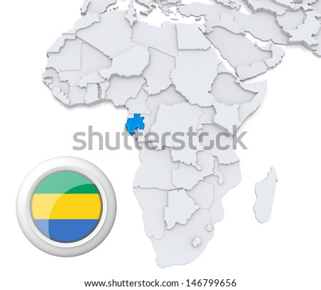 Gabon with national flag - stock photo