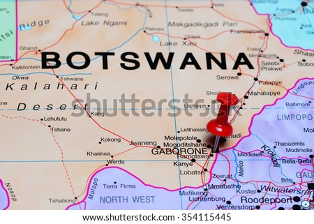 Gaborone Pinned On Map Africa Stock Photo 354115445 Shutterstock