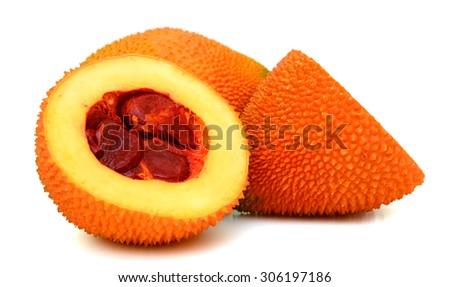 Gac fruit slices isolated on white background - stock photo