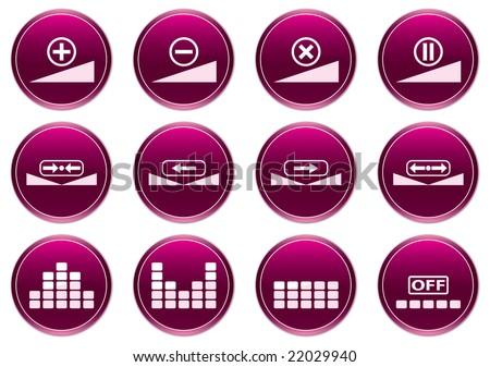 Gadget icons set. White - purple palette. Raster illustration. - stock photo