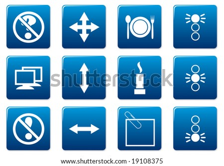 Gadget square icons set. Blue - white palette. Raster illustration.
