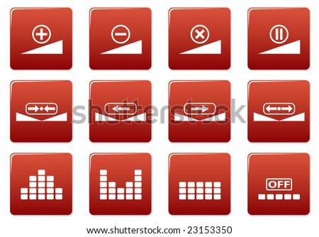 Gadget square icons set. Red - white palette. Raster illustration. - stock photo