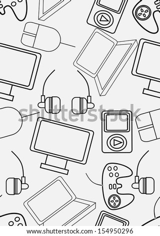 gadgets icons seamless pattern over social media background. - stock photo