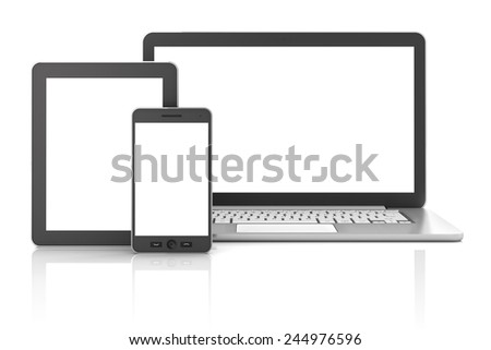 Gadgets including smartphone, smartwatch, tablet and laptop, blank screens with copyspace, 3d render - stock photo