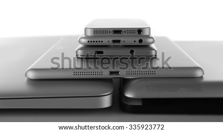 Gadgets isolated on white - stock photo