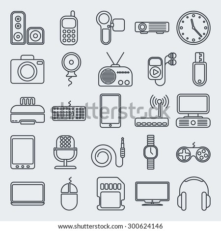 Gadgets line icon set. Raster version - stock photo
