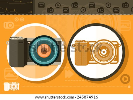 Gadgets series with two digital cameras in circle frames color and colorless variant on orange with devices silhouettes background. Raster version - stock photo