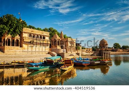 Gadi Sagar - artificial lake. Jaisalmer, Rajasthan, India - stock photo