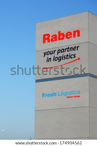 GADKI, POLAND - JANUARY 03, 2014: Sign showing the logo of Raben and Fresh Logistics