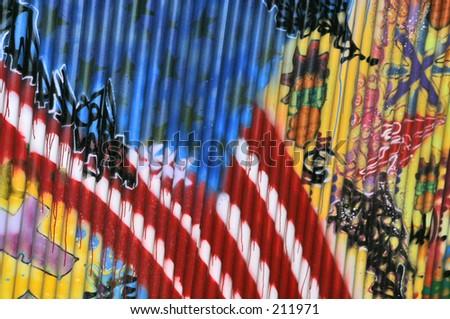 Gaffiti American Flag - stock photo