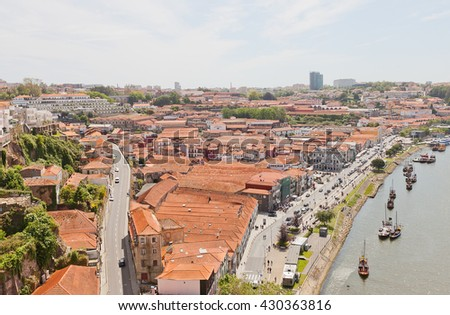 GAIA, PORTUGAL - MAY 25, 2016: View of Vila Nova de Gaia (UNESCO site). Located on the opposite bank of Douro River from Porto city. Known for cellars where world famous Port wine is stored and aged