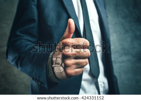Gaining bosses approval, businessperson gesturing thumb up for endorsing or approving employees work, concept of success and good work in business. - stock photo