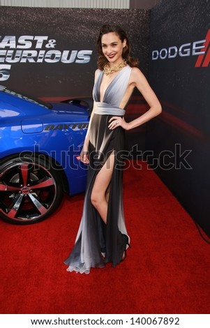 "Gal Gadot at the ""Fast And Furious 6"" Los Angeles Premiere, Gibson Amphitheatre, Universal City, CA  05-21-13 - stock photo"
