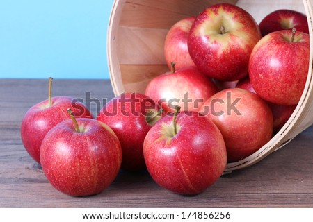 gala apple falling out of bucket on table - stock photo