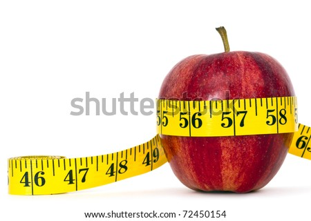 gala apple with measure tape on white background