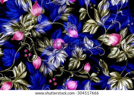 Gala black yellow saturated floral handmade illustration. Blossom pink roses and peony seamless pattern and luminous leaves on black backdrop. - stock photo