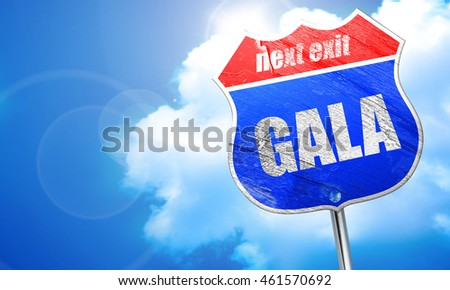 gala, 3D rendering, blue street sign
