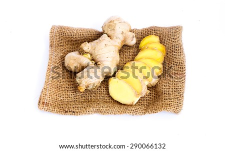 galangal slice isolated on white background