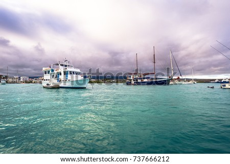 Galapagos Islands - August 23, 2017: Harbor of Puerto Ayora in Santa Cruz Island, Galapagos Islands, Ecuador