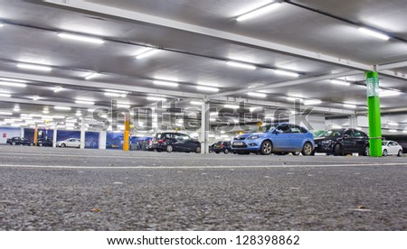 GALASHIELS, SCOTLAND - JULY 29: the interior of a car park on July 29, 2012 in Galashiels, Borders, Scotland. Almost 2000 parking fines were issued last year in council-run car parks in the Borders. - stock photo