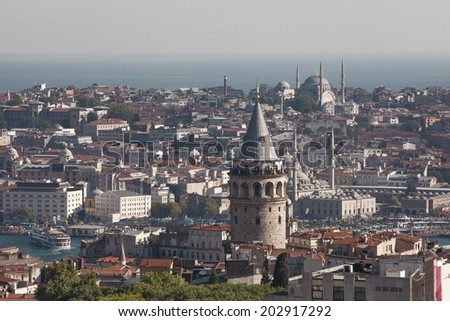 Galata Tower and Istanbul Galata, Beyoglu, Istanbul - stock photo