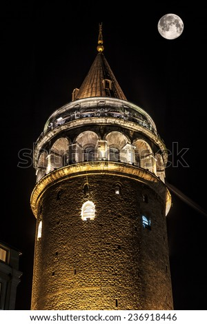 Galata tower by moon.
