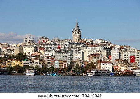 Galata Tower in Istanbul surrounded by old buildings - stock photo