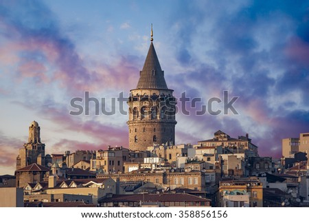 Galata Tower in Istanbul Turkey - stock photo