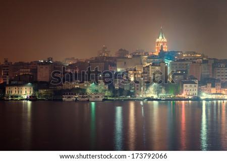 Galata Tower in night Istanbul - stock photo