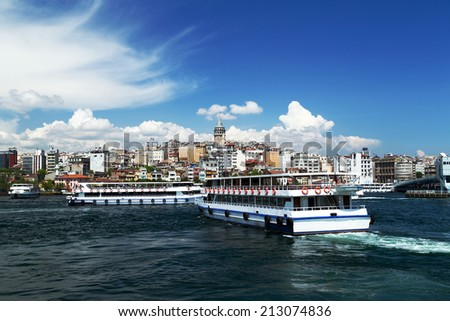 Galata Tower landscape Golden Horn in Istanbul. Turkey - stock photo