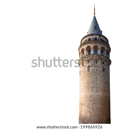 Galata tower on White background - stock photo